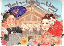 作家madokaの似顔絵 和装と和傘 背景神社
