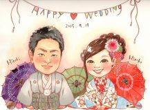 作家madokaの似顔絵 和装 二人で礼 背景和傘