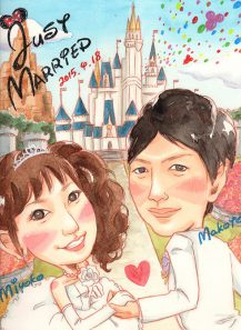 作家madokaの似顔絵 背景:ディズニーランド