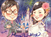 お姫様だっこ 背景:シンデレラ城と花火