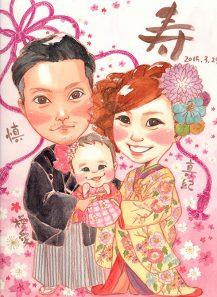 作家madokaの似顔絵 和装 子供も一緒に