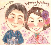 作家madokaの似顔絵 ウェルカムボード 和装 背景梅