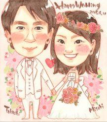 作家madokaの似顔絵 手をつなぐ 背景花輪
