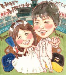 作家madokaの似顔絵 阪神タイガースファンと中日ドラゴンズファン 背景:野球グラウンド