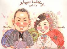 作家madokaの似顔絵 和装 背景:和傘