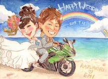 作家madokaの似顔絵 バイクで砂浜をドライブ