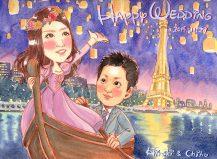 作家madokaの似顔絵 ラプンツェル風の世界観とエッフェル塔