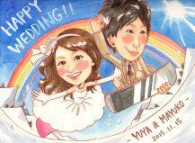 作家madokaの似顔絵 スノーボード 背景雪山と虹