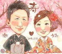 作家madokaの似顔絵 和装 背景:桜