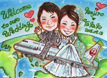 田村まりりの似顔絵 飛行機でフライト