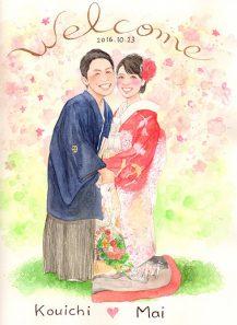 たかはしりえの似顔絵 和装 背景:桜
