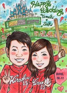 田村まりりの似顔絵 広島東洋カープ 背景:野球とシンデレラ城