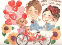 作家madokaの似顔絵 愛犬と一緒に自転車でお出かけ 背景ひまわり