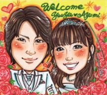 田村まりりの似顔絵 背景:赤いバラ