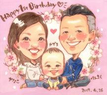 作家madokaの似顔絵 1歳の誕生日記念