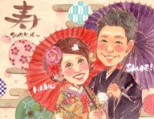 作家madokaの似顔絵 和装と和傘 背景:和紙風