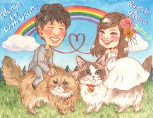 作家madokaの似顔絵 猫の背中に乗って