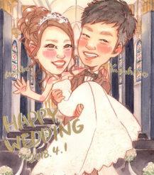 作家madokaの似顔絵 お姫様だっこ 背景:教会の中