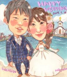作家madokaの似顔絵 背景:海辺の教会