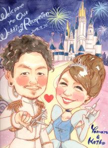 作家madokaの似顔絵 美容師と看護師 背景:シンデレラ城と花火