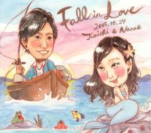 作家madokaの似顔絵 人魚と漁師